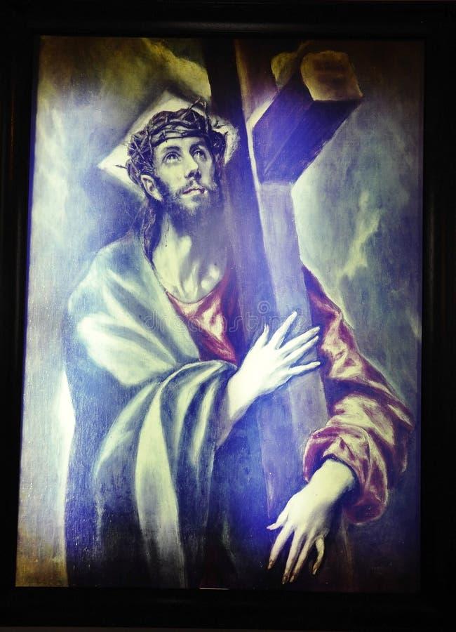 Pittura del museo della Camera del luogo di nascita di El Greco da Fodele nell'isola di Creta della Grecia immagini stock