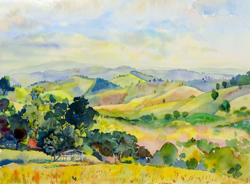 Pittura del paesaggio dell'acquerello della catena montuosa con il cottage illustrazione di stock
