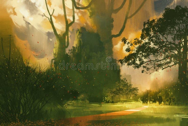 Pittura del paesaggio, montagna, alberi giganti royalty illustrazione gratis