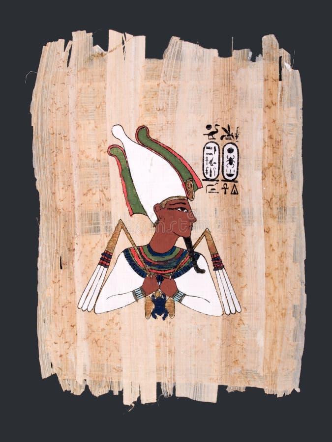 Pittura del papiro del dio egiziano antico Osiris immagine stock