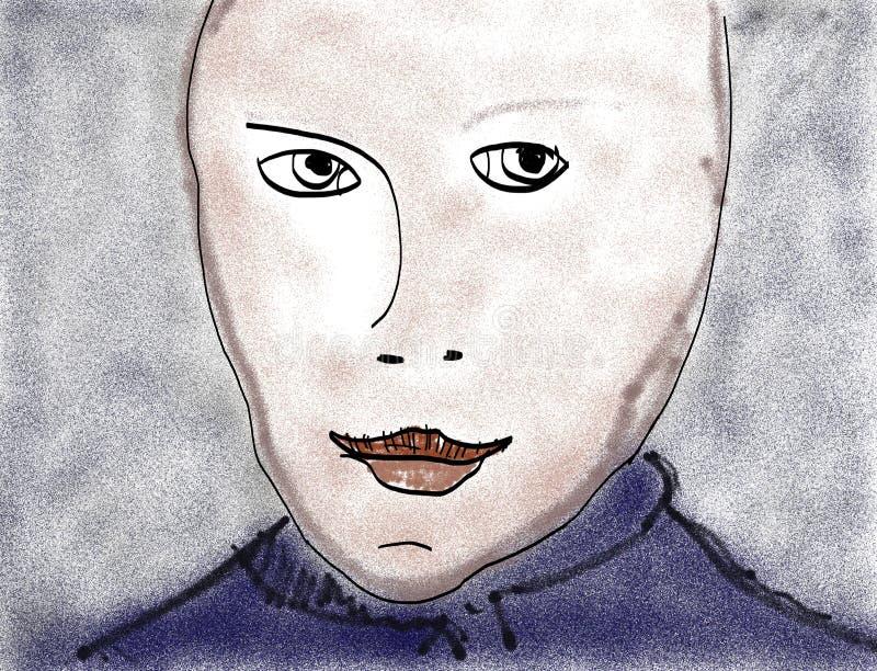 Pittura del ritratto con l'uso della spazzola di aria illustrazione di stock