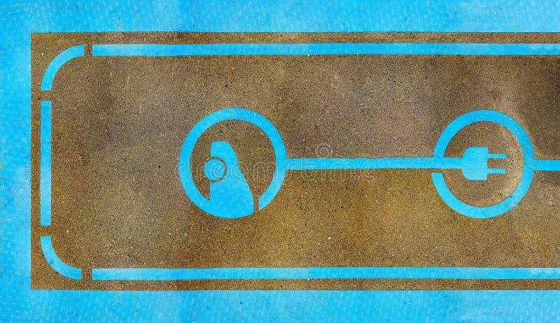 Pittura del segno della stazione di carico del veicolo elettrico fotografie stock