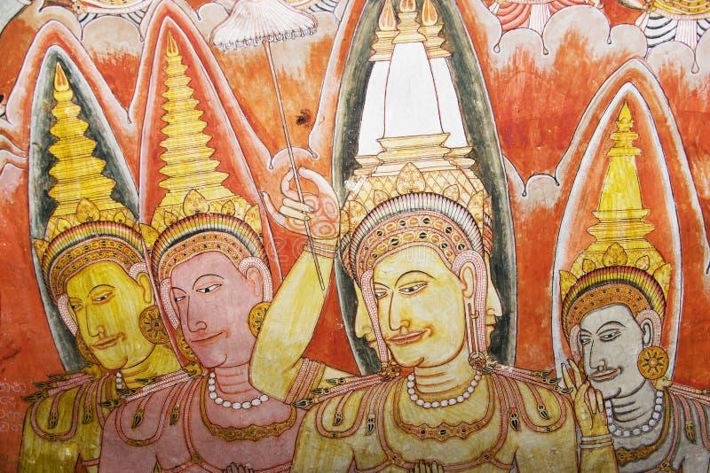 Pittura del soffitto al tempiale della roccia di Dambulla fotografie stock libere da diritti