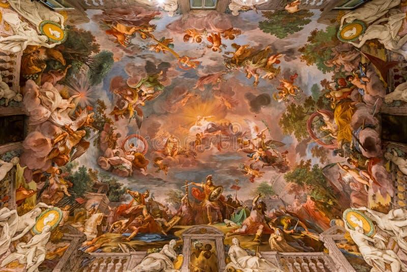Pittura del soffitto nella galleria Borghese fotografia stock libera da diritti