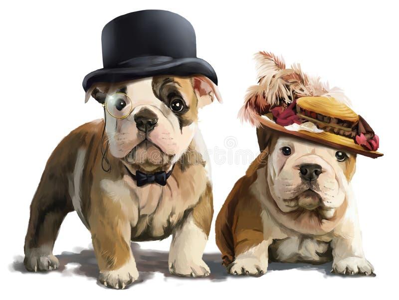 Pittura dell'acquerello dei bulldog illustrazione vettoriale