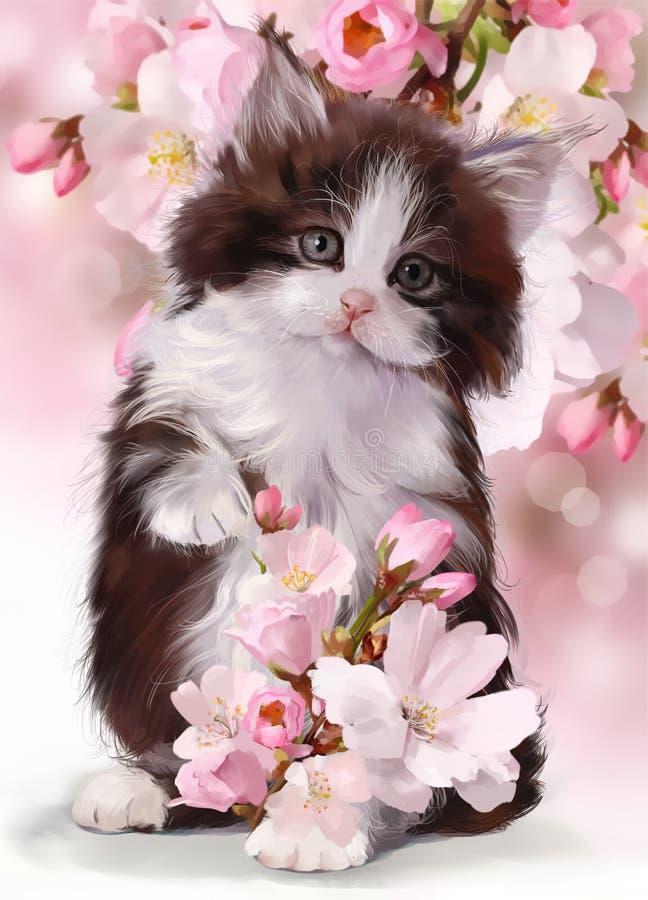 Pittura dell'acquerello del gattino royalty illustrazione gratis