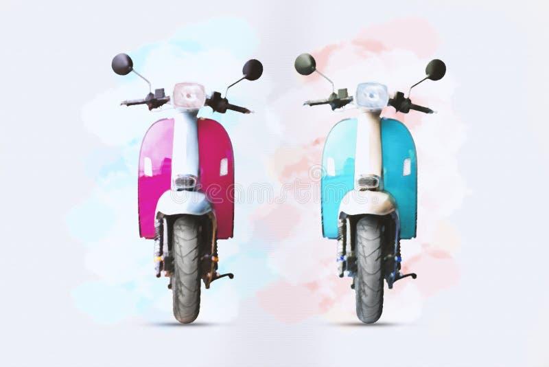 Pittura dell'acquerello del rosa e del motociclo blu su Libro Bianco immagini stock