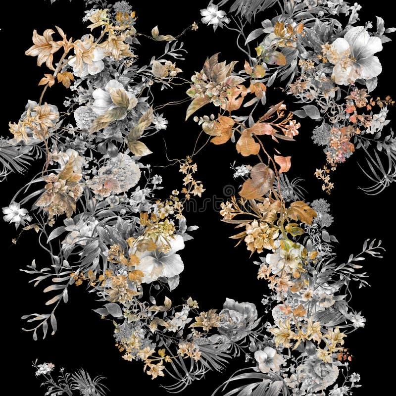 Pittura dell'acquerello della foglia e dei fiori, modello senza cuciture fotografia stock