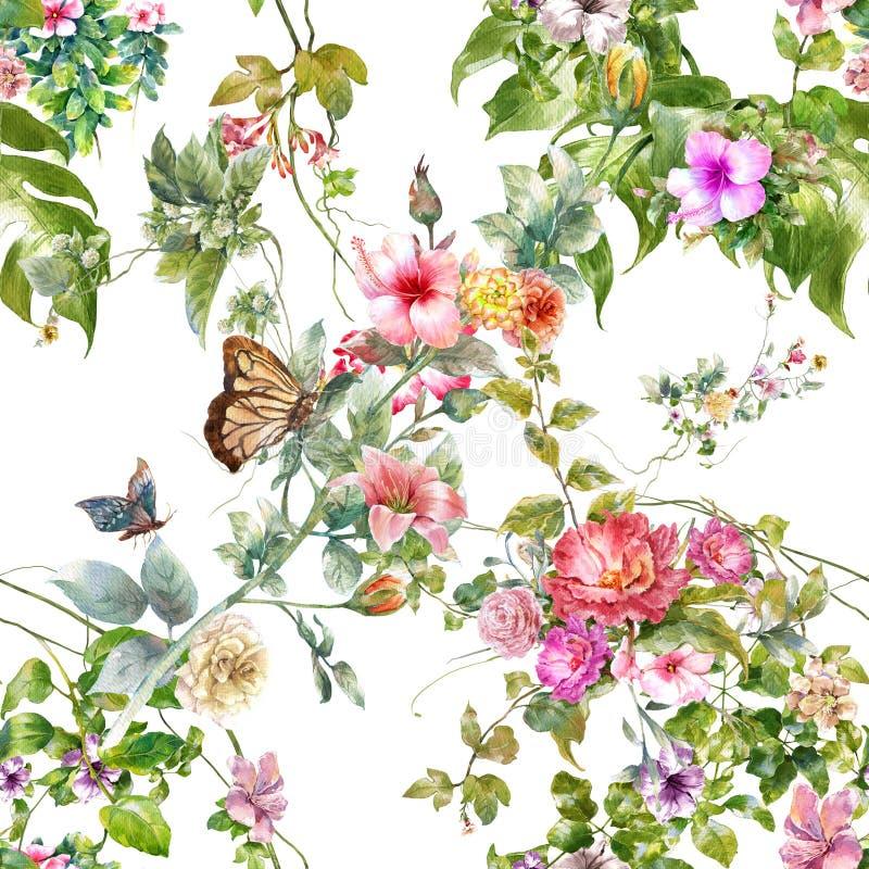 Pittura dell'acquerello della foglia e dei fiori, modello senza cuciture fotografie stock
