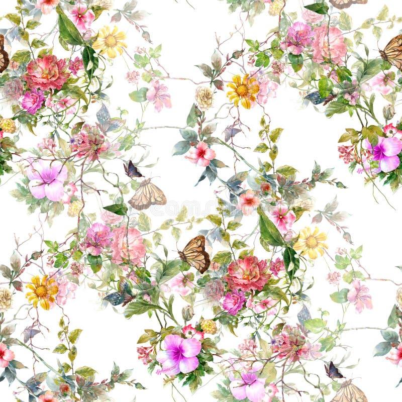 Pittura dell'acquerello della foglia e dei fiori, modello senza cuciture su bianco illustrazione di stock