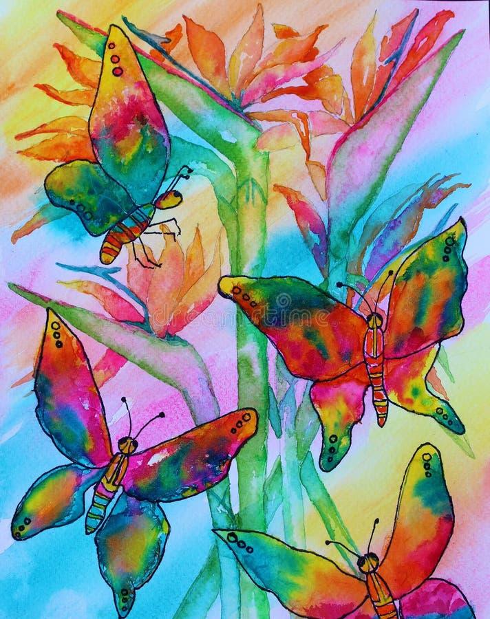 Pittura dell'acquerello delle farfalle fotografie stock