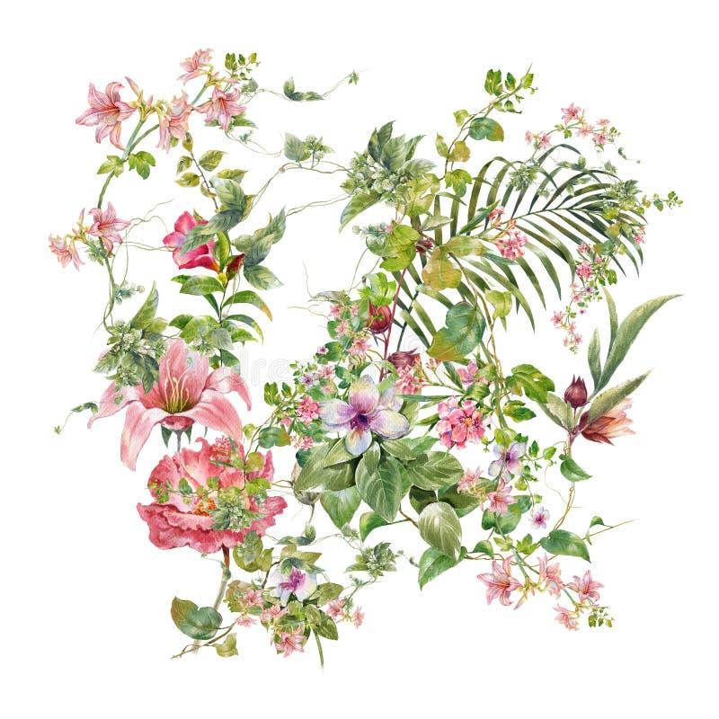 Pittura dell'acquerello delle foglie e del fiore, su bianco fotografia stock