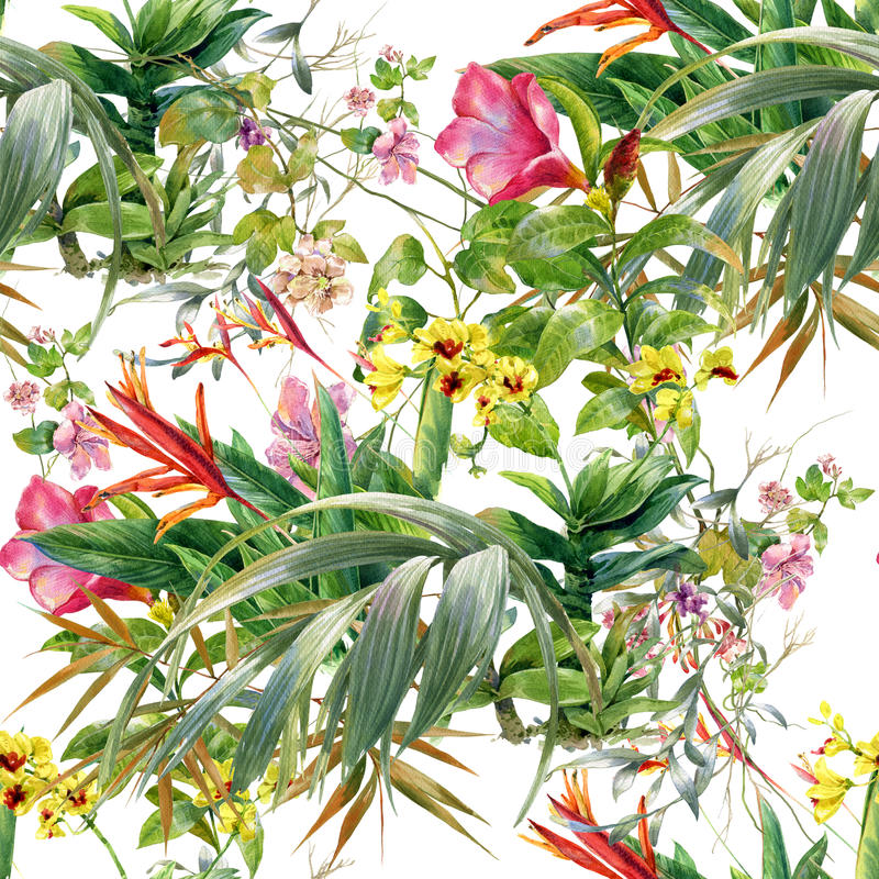 Pittura dell'acquerello delle foglie e dell'illustrazione del fiore royalty illustrazione gratis