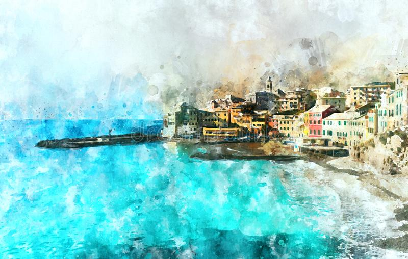 Pittura dell'acquerello di Digital di Bogliasco L'Italia illustrazione di stock