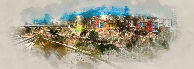 Pittura dell'acquerello di Digital della città di Villajoyosa illustrazione vettoriale