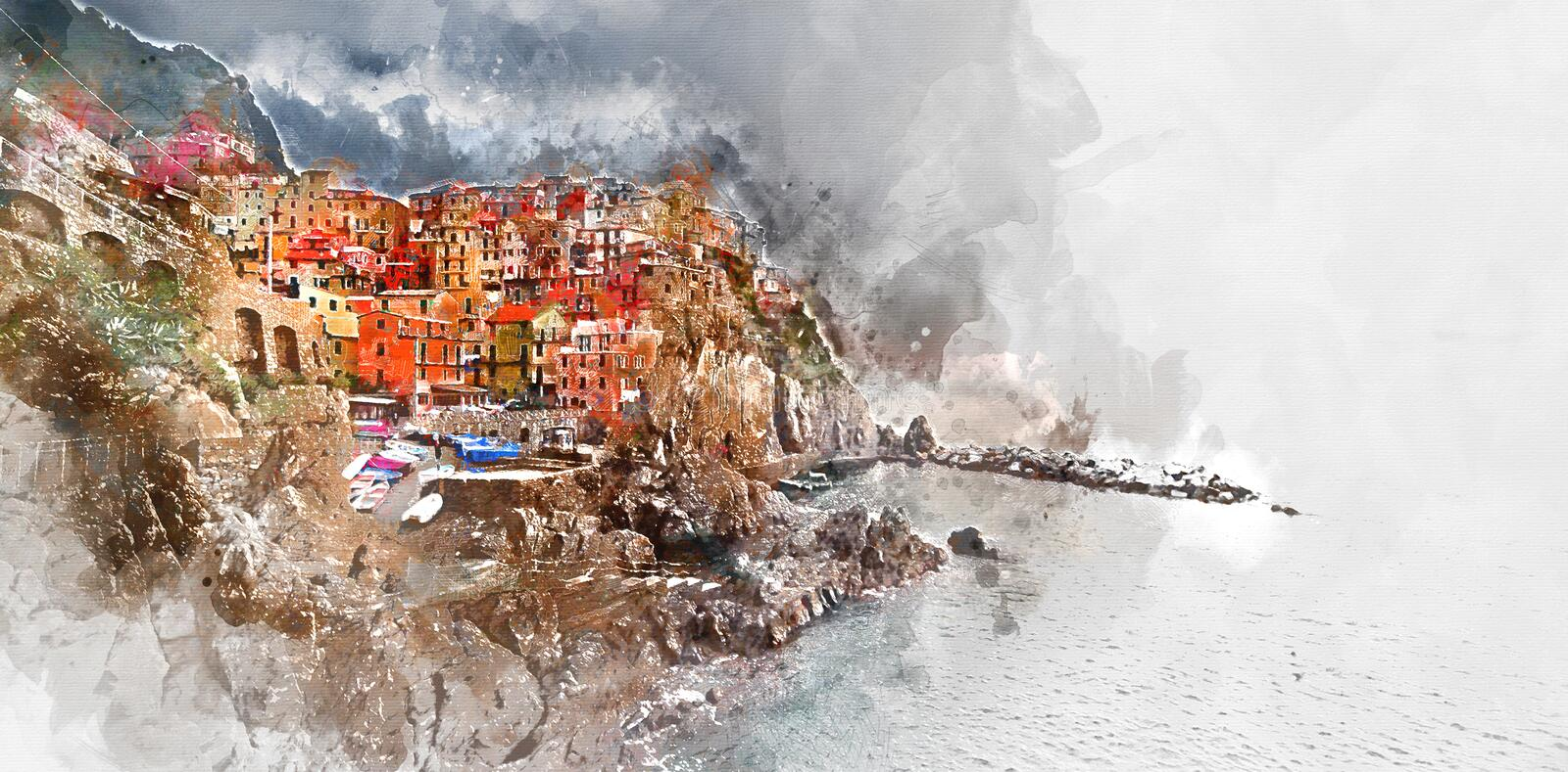 Pittura dell'acquerello di Digital di Manarola L'Italia illustrazione vettoriale