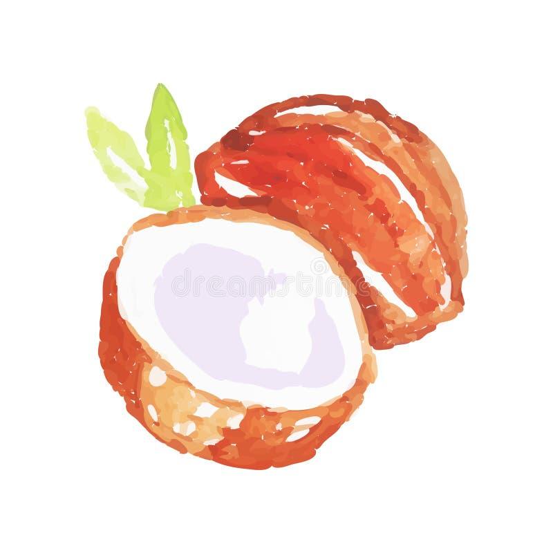 Pittura dell'acquerello di intera noce di cocco con le mezze e foglie di palma verdi Alimento organico e saporito Nutrizione vege royalty illustrazione gratis