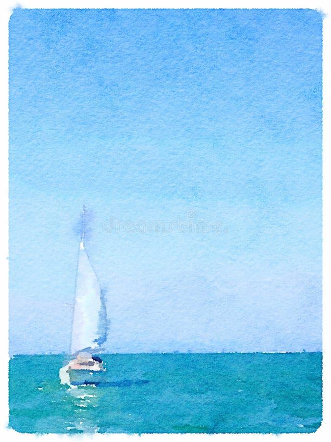 Pittura dell'acquerello di una barca a vela nel mare con le vele su, immagini stock libere da diritti