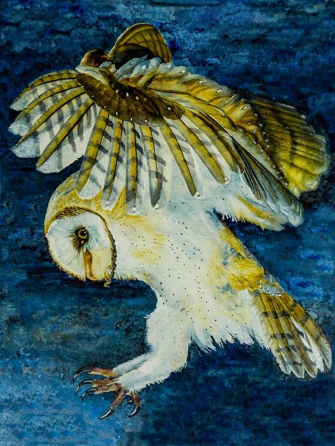 Pittura dell'acquerello di una caccia dei barbagianni fotografie stock libere da diritti