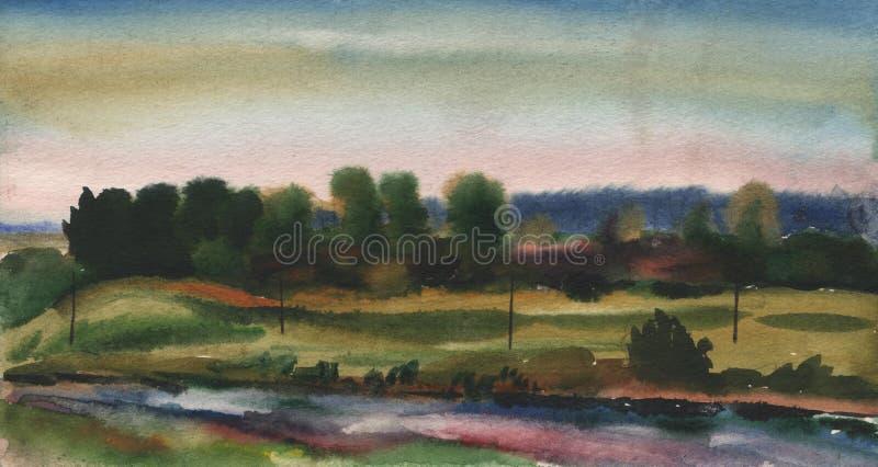 Pittura dell'acquerello, paesaggio, tramonto Fiume, lago, stagno della foresta sui precedenti del cielo di sera illustrazione vettoriale
