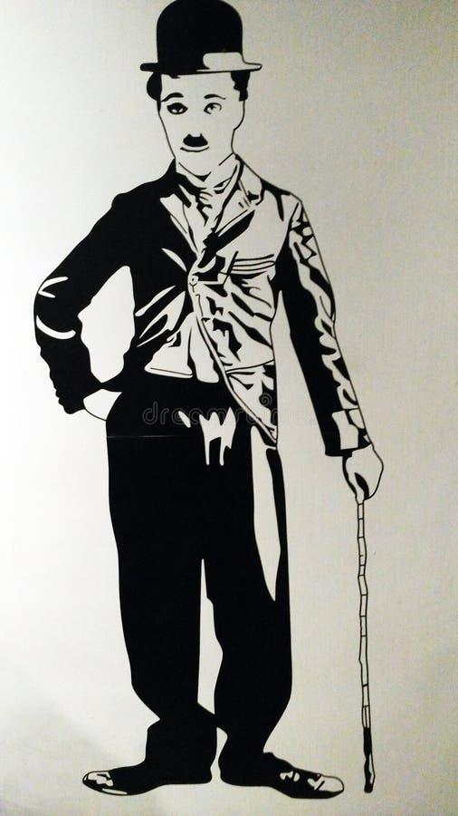 Pittura dell'illustrazione di Charlie Chaplin royalty illustrazione gratis