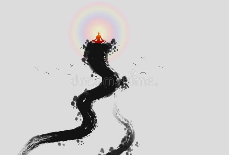 Pittura dell'inchiostro della luce di Zen Buddha illustrazione vettoriale