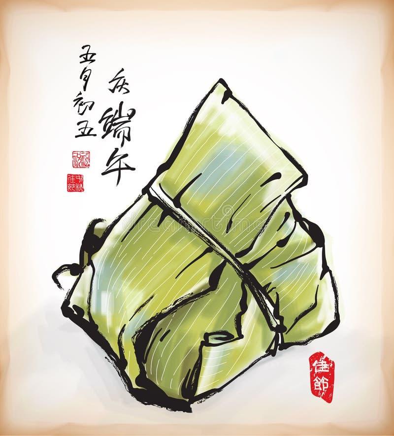 Pittura dell'inchiostro della polpetta cinese del riso illustrazione di stock