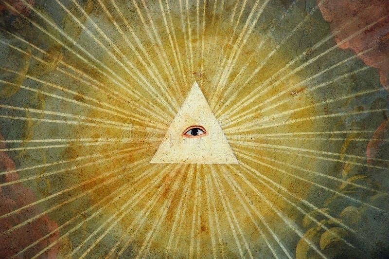 Pittura dell'occhio del dio   fotografia stock