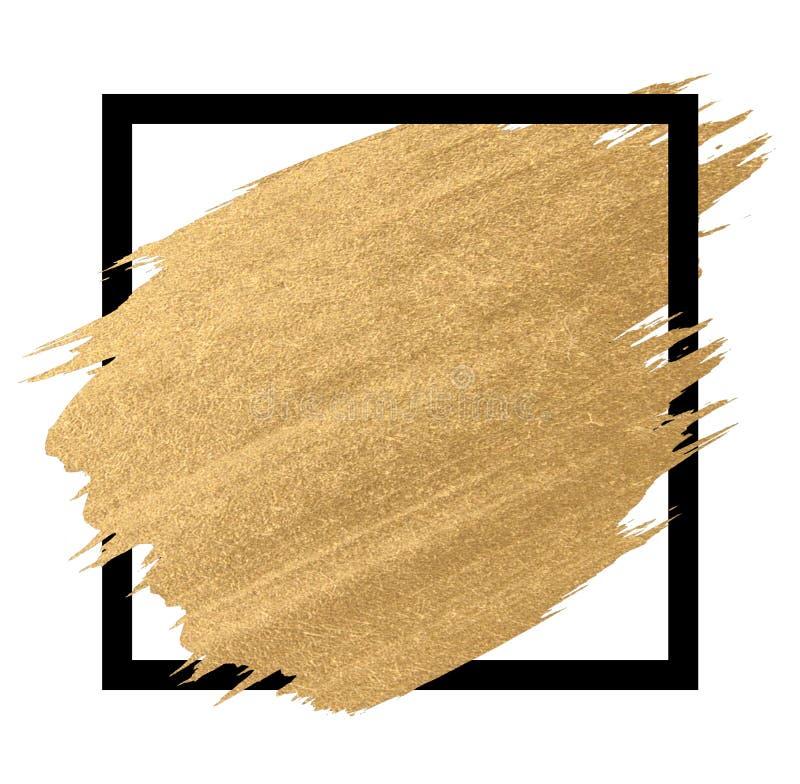 Pittura dell'oro nei colpi della spazzola del quadrato nero fotografia stock