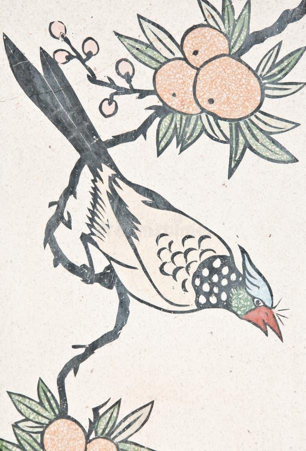 Pittura dell'uccello sulla parete cinese del tempiale fotografia stock