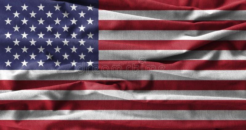 Pittura della bandiera americana sull'alto dettaglio dei tessuti di cotone dell'onda illustrazione di stock