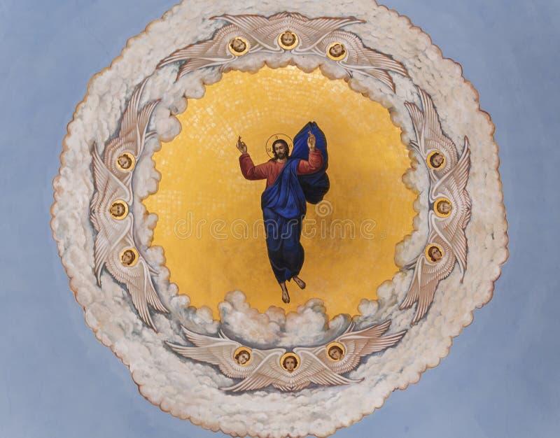 Pittura della cupola della cattedrale di ascensione in un monastero ortodosso russo di ascensione del ` s delle donne, Gerusalemm immagine stock