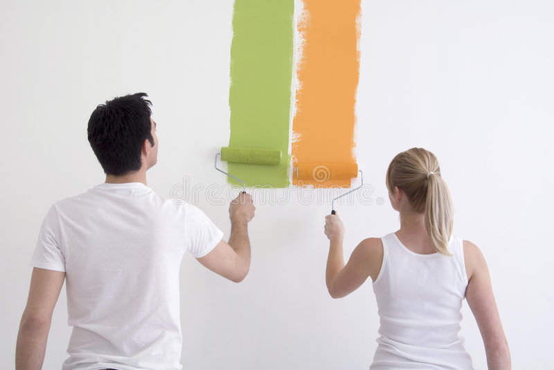 Pittura della donna e dell'uomo fotografie stock libere da diritti
