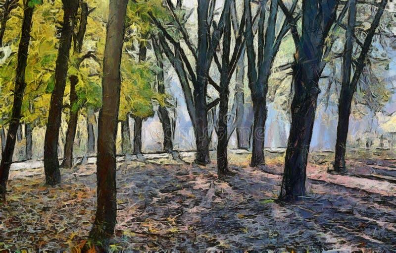 Pittura della foresta di autunno illustrazione di stock for Cabine della foresta lacustre