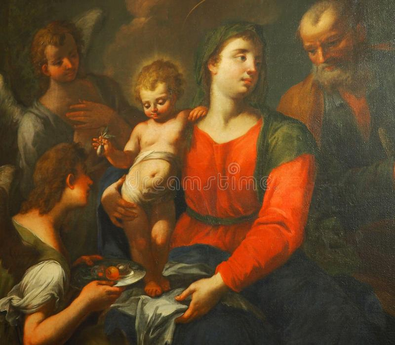 Pittura della madre e del bambino in museo fotografia stock libera da diritti