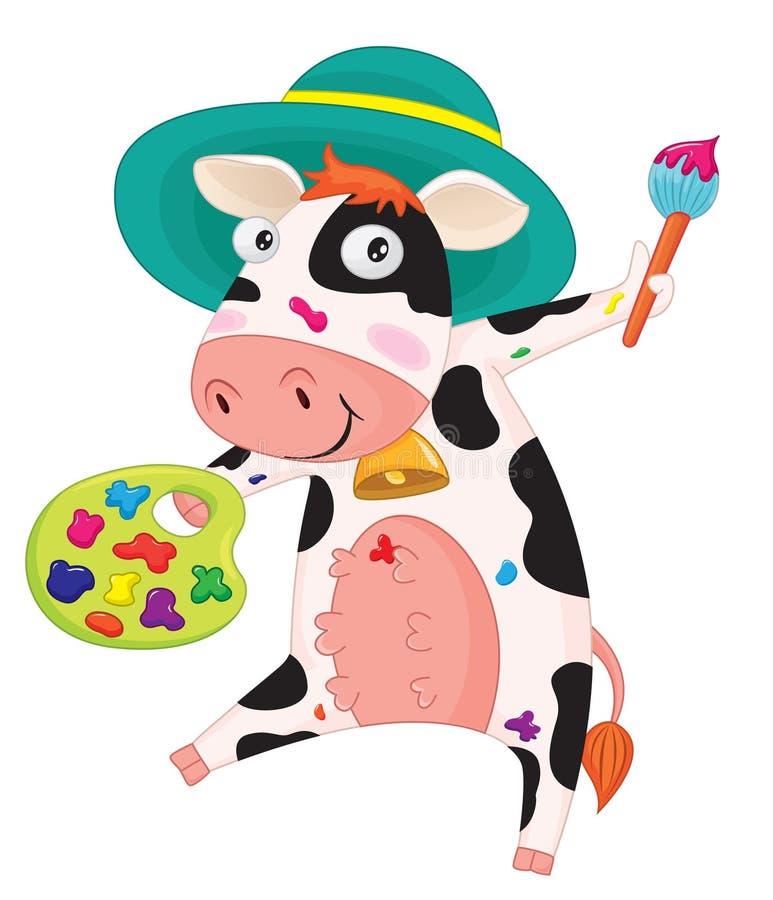 Pittura della mucca illustrazione di stock
