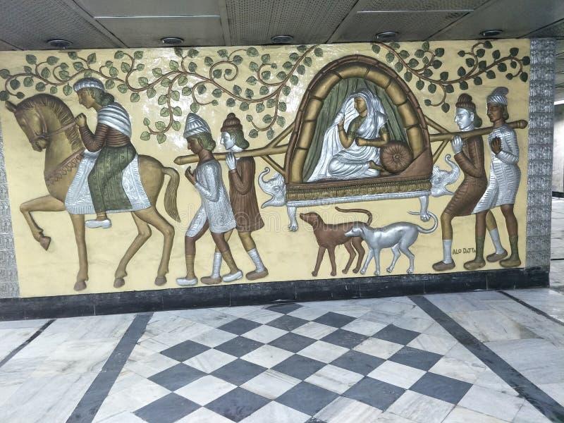 Pittura della parete ai tempi dell'impero britannico fotografia stock