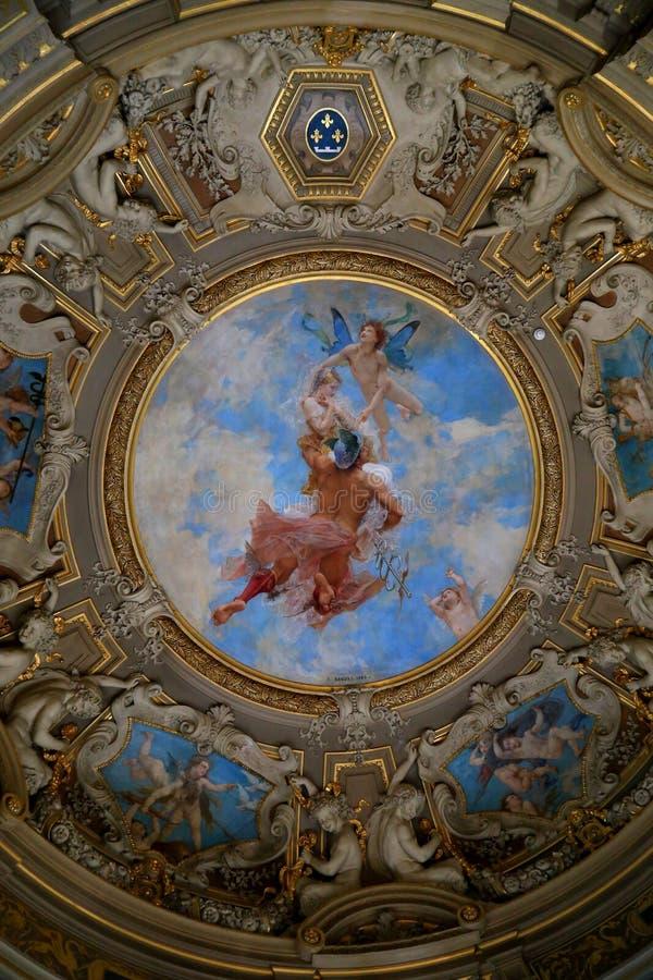 pittura della parete nel castello storico fotografia stock libera da diritti