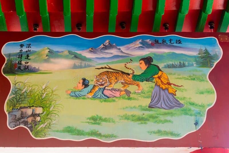 Pittura della parete in tempio cinese fotografia stock