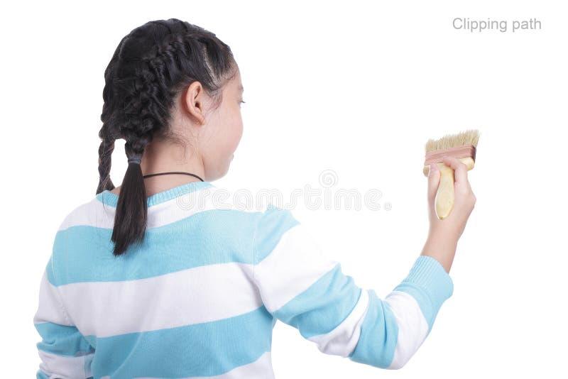 Pittura della ragazza dello studente qualcosa fotografia stock
