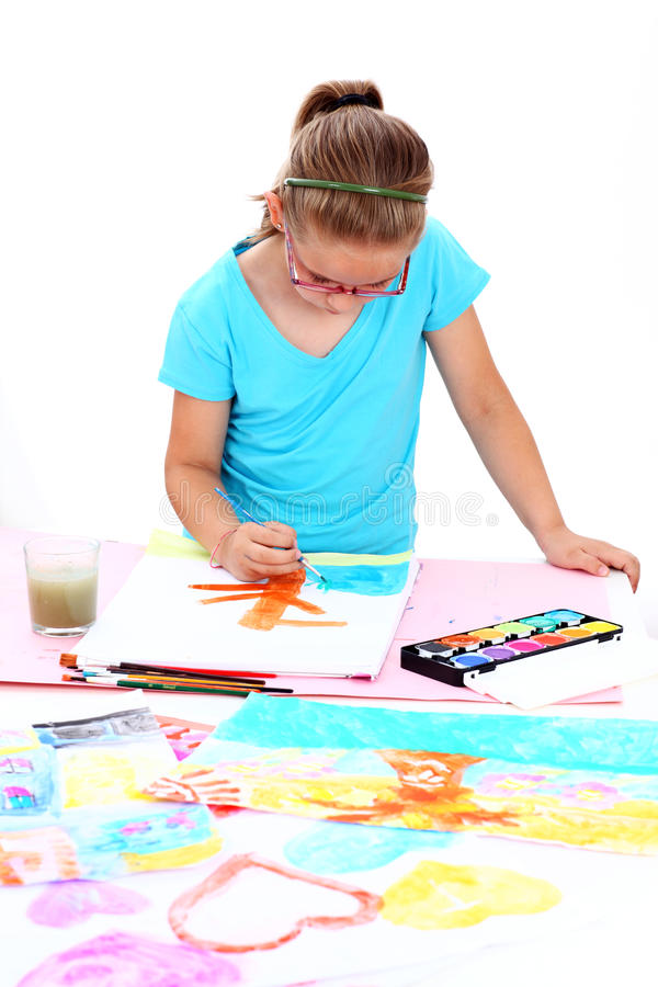 Pittura della scolara fotografie stock libere da diritti