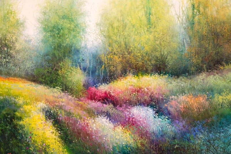 Pittura della tela dell'olio: Prato della primavera con i fiori variopinti e Tre illustrazione di stock