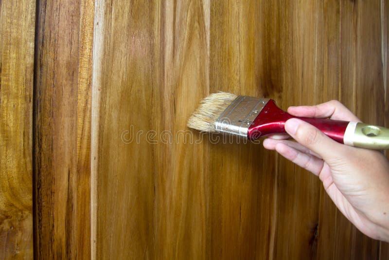 Pittura della vernice dell'olio di lino su legno fotografia stock