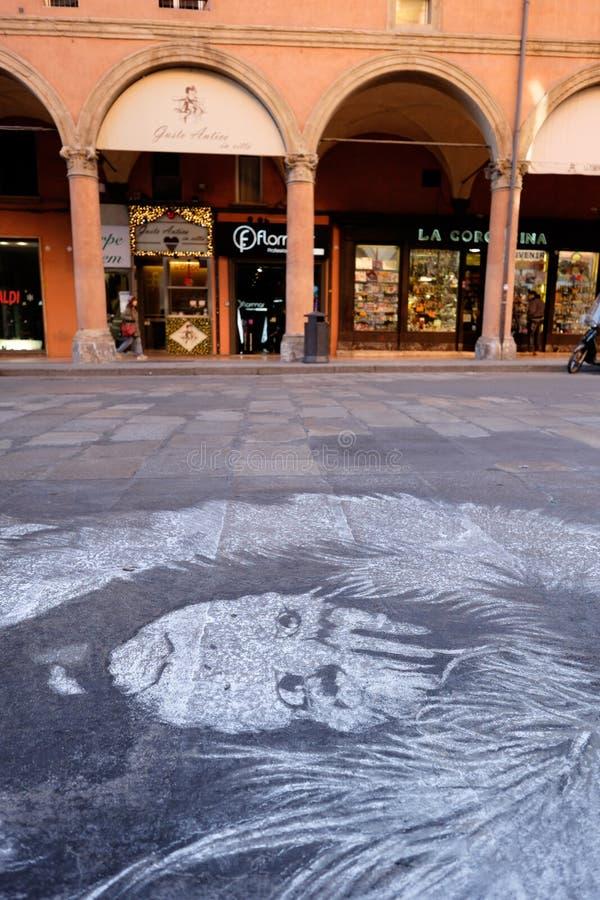 Pittura della via dentro via il indipendenza, Bologna immagini stock