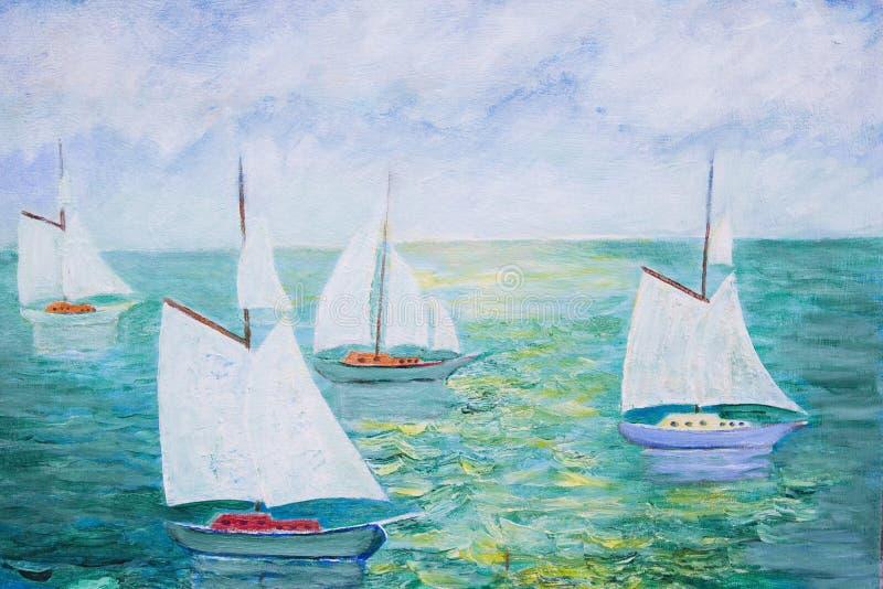 Pittura delle barche a vela illustrazione vettoriale