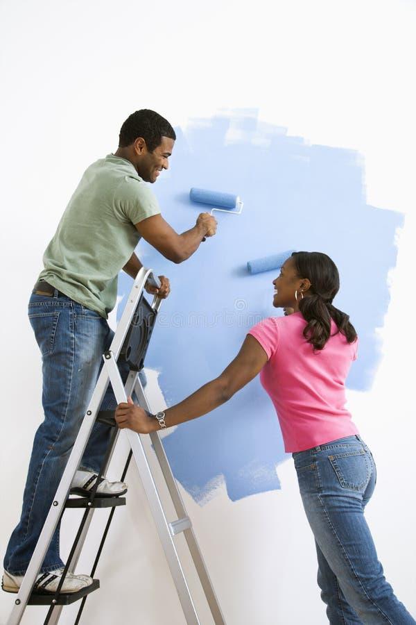 Pittura delle coppie insieme. fotografia stock