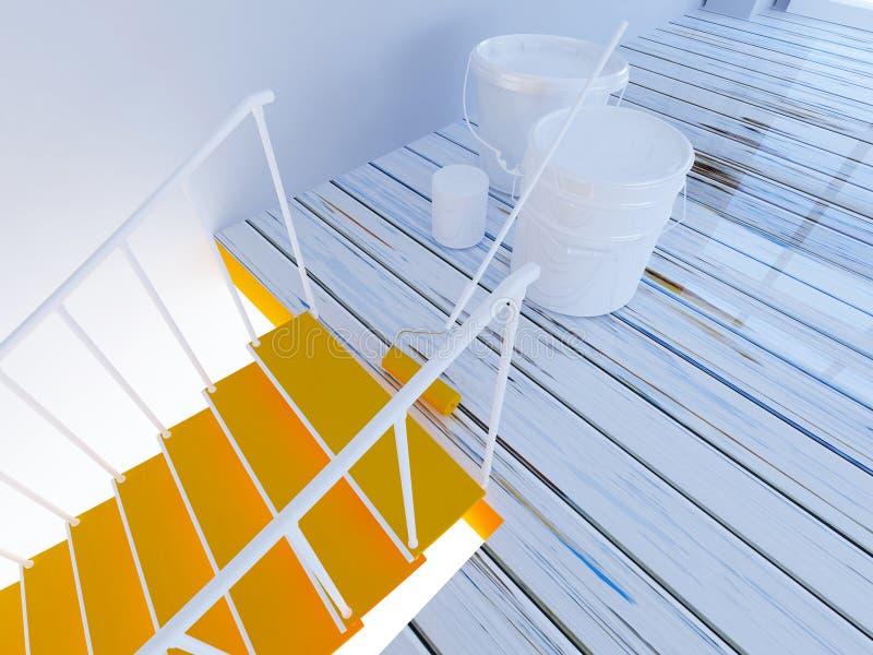 Pittura delle scale, flusso di lavoro nella stanza 3d royalty illustrazione gratis