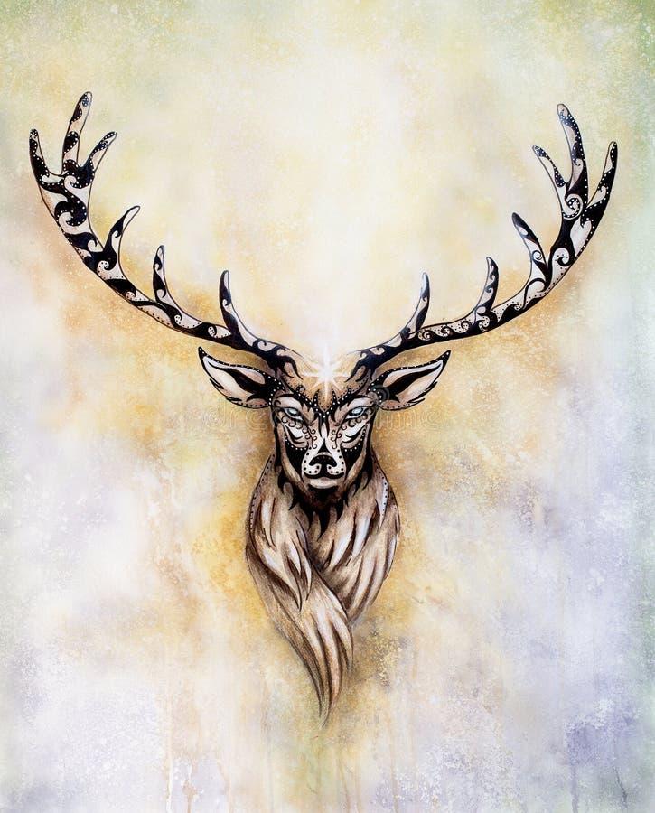 Pittura dello spirito mitologico sacro dei cervi con gli ornamenti royalty illustrazione gratis
