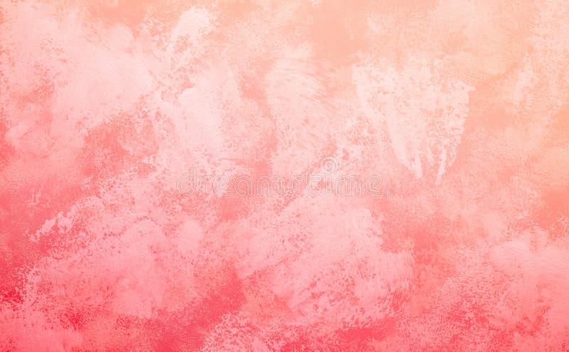 Pittura di astrattismo nel colore di tono di corallo vivente per il fondo di struttura fotografie stock