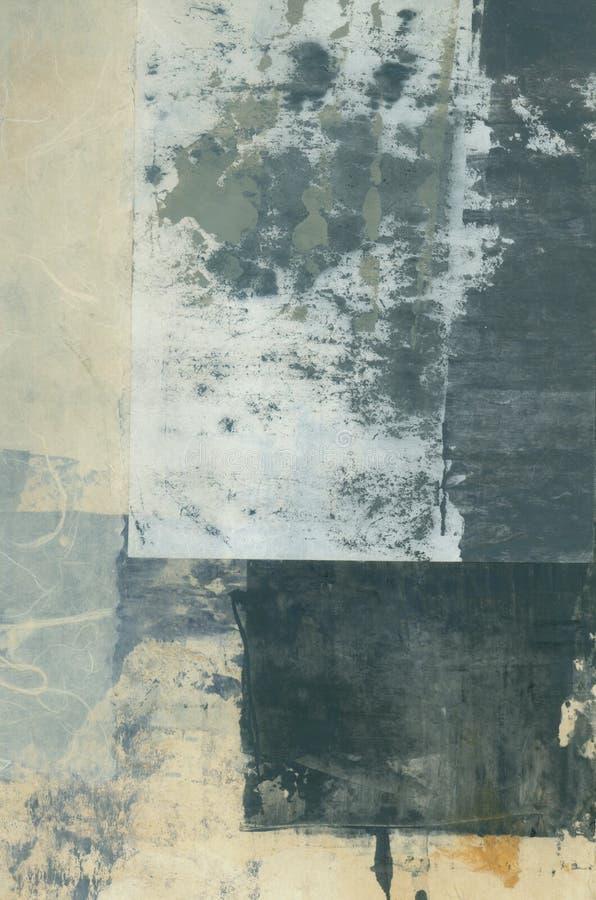 Pittura di carta strutturale del collage di arti dell'estratto con Grey Tones fotografie stock